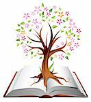 Illustration of a tree with coloured leaves growing out of a heavy book Stock Photo - Royalty-Free, Artist: ThomasAmby                    , Code: 400-04310558