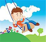 An illustration of a young boy on a swing Stock Photo - Royalty-Free, Artist: ThomasAmby                    , Code: 400-04310559