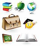 Vector set of seven detailed education objects Stock Photo - Royalty-Free, Artist: ThomasAmby                    , Code: 400-04310563