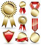 Set of shiny red and gold award ribbons Stock Photo - Royalty-Free, Artist: ThomasAmby                    , Code: 400-04310570