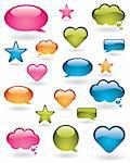 Shiny bubbles, stars and heart shapes in many colors Stock Photo - Royalty-Free, Artist: ThomasAmby                    , Code: 400-04310572