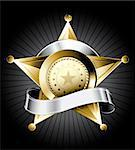 Golden sheriff badge design with a silver ribbon for text Stock Photo - Royalty-Free, Artist: ThomasAmby                    , Code: 400-04310573