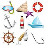 Set of 9 sea related vector icons Stock Photo - Royalty-Free, Artist: ThomasAmby                    , Code: 400-04310664