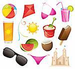 Set of 13 summer and beach vector icons Stock Photo - Royalty-Free, Artist: ThomasAmby                    , Code: 400-04310665