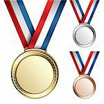 Three detailed vector medals with room for your texts or images - gold, silver and bronze Stock Photo - Royalty-Free, Artist: ThomasAmby                    , Code: 400-04310666