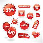 Set of red sale stickers, tags, buttons and icons for websites and print Stock Photo - Royalty-Free, Artist: ThomasAmby                    , Code: 400-04310667