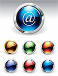 Set of reflective web buttons in six colours Stock Photo - Royalty-Free, Artist: ThomasAmby                    , Code: 400-04310686