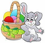 Basket with Easter eggs and bunny - vector illustration. Stock Photo - Royalty-Free, Artist: clairev                       , Code: 400-04311411
