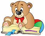 Cute teddy bear reading book - vector illustration.