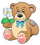 Cute teddy bear with flower - vector illustration.