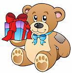 Cute teddy bear with gift - vector illustration.