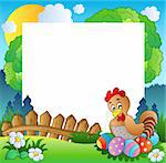 Easter frame with hen and eggs - vector illustration. Stock Photo - Royalty-Free, Artist: clairev                       , Code: 400-04311439