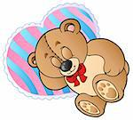 Teddy bear on heart shaped pillow - vector illustration.