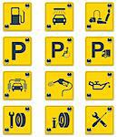 Set of the roadside services related icons Stock Photo - Royalty-Free, Artist: tele52                        , Code: 400-04311546