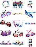 Collage Montage of Sunglasses in a Variety of Shapes and Colors Isolated on White. Stock Photo - Royalty-Free, Artist: brookebecker                  , Code: 400-04312077