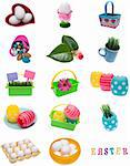 Collage Montage of Spring Easter Items Isolated on White. Stock Photo - Royalty-Free, Artist: brookebecker                  , Code: 400-04312083