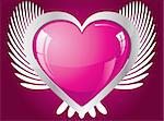 Winged glitter pink heart, vector illustration Stock Photo - Royalty-Free, Artist: MarketOlya                    , Code: 400-04312257