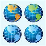 Four colored sphere globes showing America continents Stock Photo - Royalty-Free, Artist: soleilc                       , Code: 400-04312424