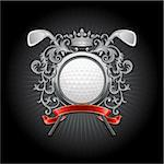 ?oat of arms with a golf ball and putters. Vector illustration. Stock Photo - Royalty-Free, Artist: CelloFun                      , Code: 400-04312608