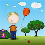 Boy holding a balloon outdoors on spring day Stock Photo - Royalty-Free, Artist: soleilc                       , Code: 400-04313439