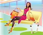 fashion shopping girl with bag relax in mall - vector illustration Stock Photo - Royalty-Free, Artist: stoyanh                       , Code: 400-04313689