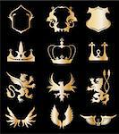 Set heraldic gold elements on black. Vector illustration Stock Photo - Royalty-Free, Artist: emaria                        , Code: 400-04314076