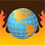 Globe in flames representing global warming Stock Photo - Royalty-Free, Artist: soleilc                       , Code: 400-04314525