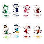 jumping happy kids Stock Photo - Royalty-Free, Artist: dip                           , Code: 400-04314811
