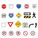 Various traffic and road signs Stock Photo - Royalty-Free, Artist: soleilc                       , Code: 400-04314955