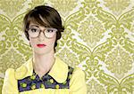 nerd woman retro portrait 70s wallpaper vintage housewife Stock Photo - Royalty-Free, Artist: lunamarina                    , Code: 400-04314998