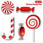 Vector set with different red candies