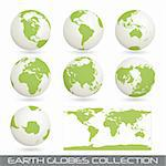 collection of earth globes end a map isolated on white, vector illustration Stock Photo - Royalty-Free, Artist: th12                          , Code: 400-04317252