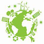 Green environment symbols on earth Stock Photo - Royalty-Free, Artist: soleilc                       , Code: 400-04317629