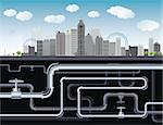 An imaginary big city with skyscrapers, blue sky,trees and tubes. vector illustration Stock Photo - Royalty-Free, Artist: BooblGum                      , Code: 400-04317807