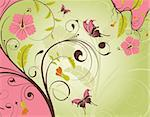Decorative Floral frame with butterfly, vector illustration