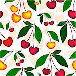 White  floral seamless pattern with red and yellow berries (vector) Stock Photo - Royalty-Free, Artist: OlgaDrozd                     , Code: 400-04318908