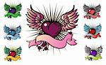 7 tattoo style emblem, vector love, flower, fly icon Stock Photo - Royalty-Free, Artist: icons                         , Code: 400-04319775