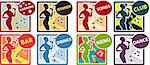 8 Karaoke music club set with woman sing song, silhouette icons, sign, tag, label, poster. Menu, bar, club, drinks, dance,winner stickers Stock Photo - Royalty-Free, Artist: icons                         , Code: 400-04319917