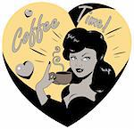 Coffee Lover vector poster with woman and cup of coffee in hand, Coffee time logo heart icon.One of fashion pinup illustrations Stock Photo - Royalty-Free, Artist: icons                         , Code: 400-04319993