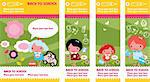 Four cute colorful banners with kids playing outside or getting ready for school Stock Photo - Royalty-Free, Artist: icons                         , Code: 400-04320007