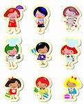 Happy kids icons sticker set cook study relax play Stock Photo - Royalty-Free, Artist: icons                         , Code: 400-04320027
