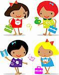 Vector girls back to school icons Stock Photo - Royalty-Free, Artist: icons                         , Code: 400-04320109