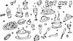 Fake tattoo Food Icon Set Doodle sketch Eat me! Stock Photo - Royalty-Free, Artist: icons                         , Code: 400-04320177