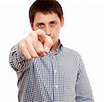 Young man pointing. Isolated over white. Stock Photo - Royalty-Free, Artist: logoff                        , Code: 400-04320229
