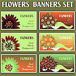 Colorful flower web banner set cards background Stock Photo - Royalty-Free, Artist: icons                         , Code: 400-04320303