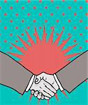 Deal! handshake isolated on retro background Stock Photo - Royalty-Free, Artist: icons                         , Code: 400-04320315