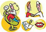 Dentist working on patient vector icons set Stock Photo - Royalty-Free, Artist: icons                         , Code: 400-04320317
