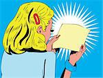 Vector illustration of a woman reading a note    Stock Photo - Royalty-Free, Artist: icons                         , Code: 400-04320349