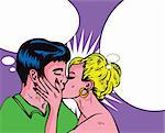 Woman kiss man Passion Love Sex Retro Popart style Stock Photo - Royalty-Free, Artist: icons                         , Code: 400-04320363