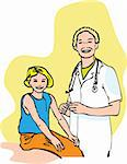 doctor and child vector illustration Stock Photo - Royalty-Free, Artist: icons                         , Code: 400-04320493